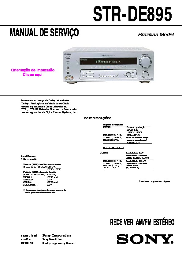 sony str de895 str de995 service manual free download rh servicemanuals us sony str-de995 specs sony str de695 manual