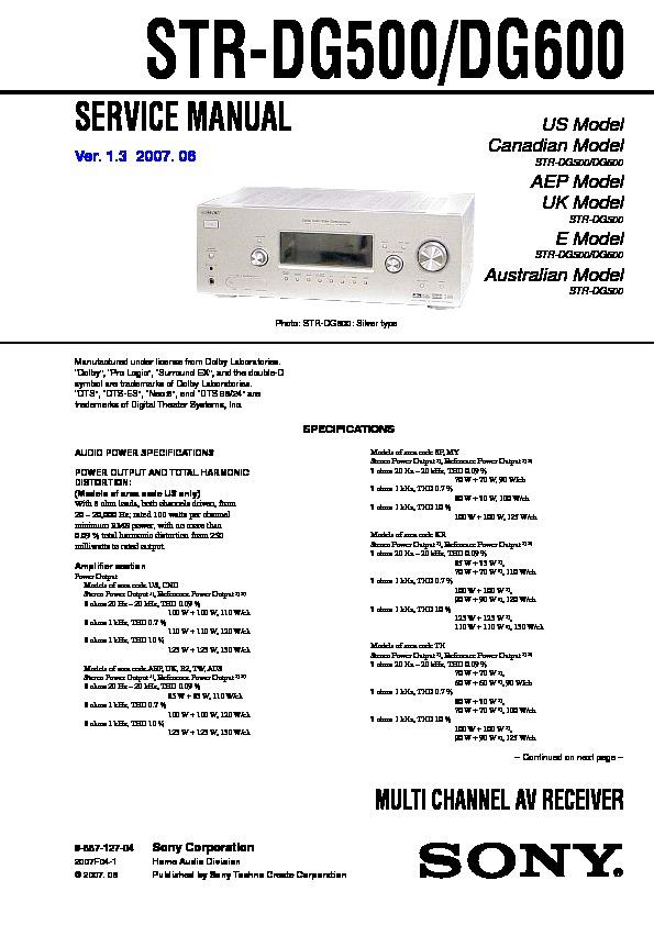 sony str dg500 str dg600 service manual free download rh servicemanuals us sony str-dg600 service manual