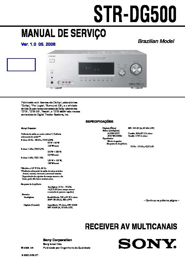 Sony Str-dg500  Str-dg600 Service Manual