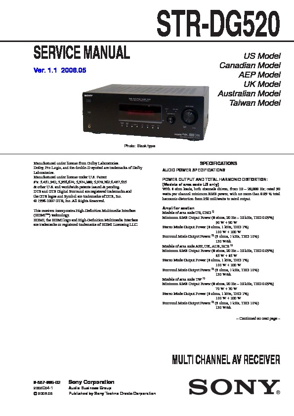 sony str dg520 service manual free download rh servicemanuals us sony str dh520 manual pdf sony str dh520 manual pdf