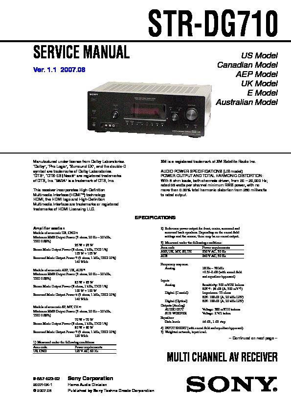 sony str dg710 service manual free download rh servicemanuals us sony str-dg710 service manual sony str dg710 manual pdf