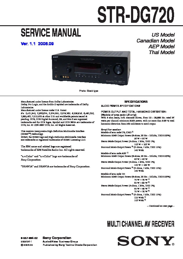 sony str dg720 service manual free download rh servicemanuals us sony str-dg720 service manual sony str-dg720 owners manual