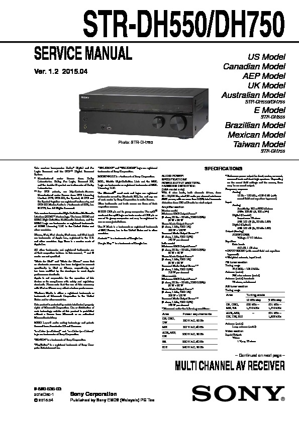 Sony Str Dh550 Manual Multi Channel Av Receiver Manual Guide