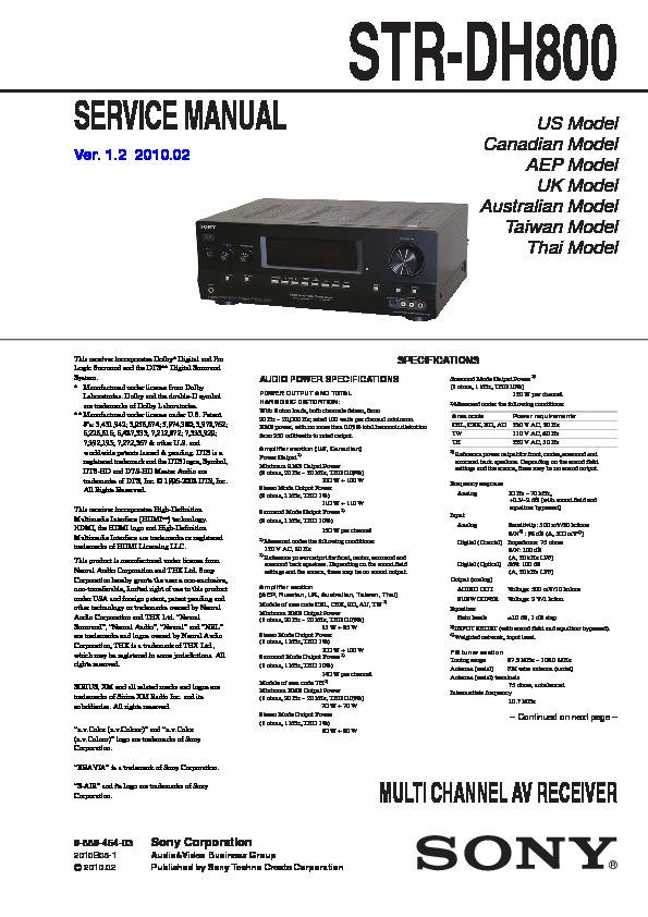 sony str dh800 service manual free download rh servicemanuals us sony multi channel av receiver str-dh800 manual sony str dh800 manual pdf
