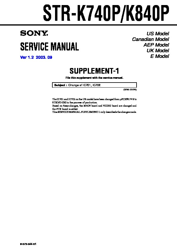 Sony Str-k740p  Str-k840p Service Manual
