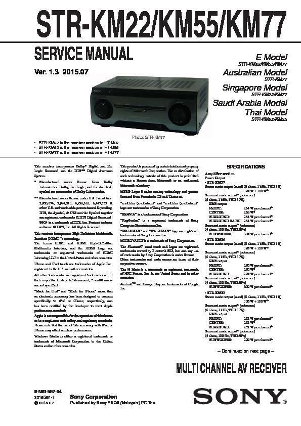 sony str-km22  str-km55  str-km77 service manual