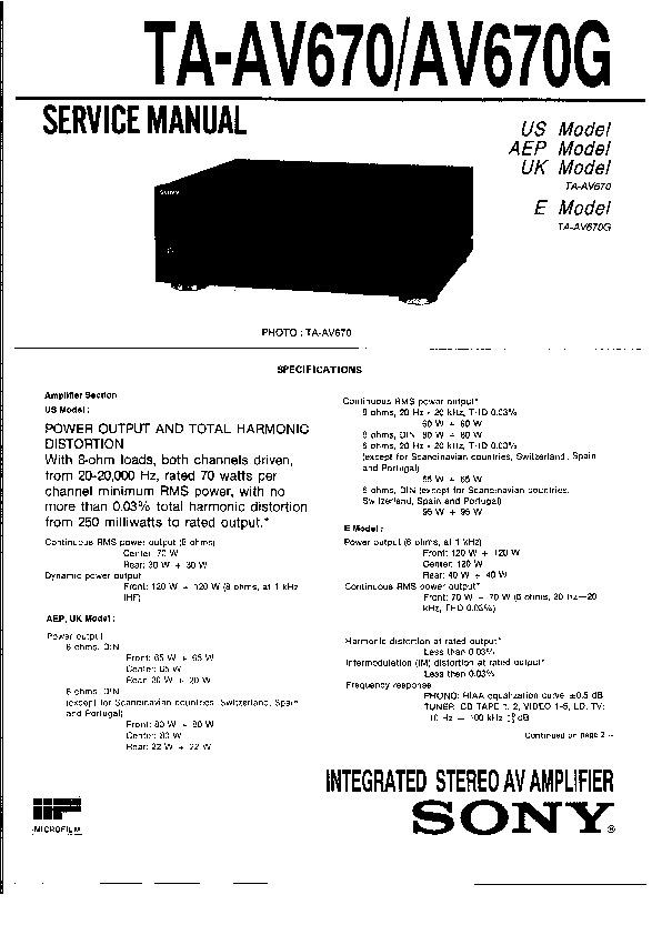 sony ta-av670  ta-av670g service manual
