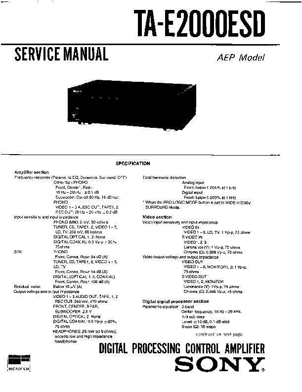 sony ta-e2000esd service manual