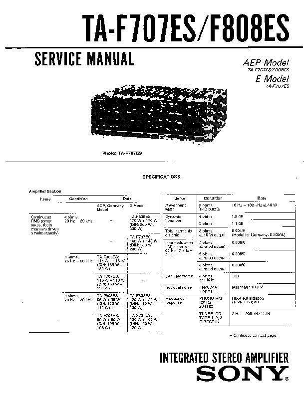 Sony Ta-f707es  Ta-f808es Service Manual
