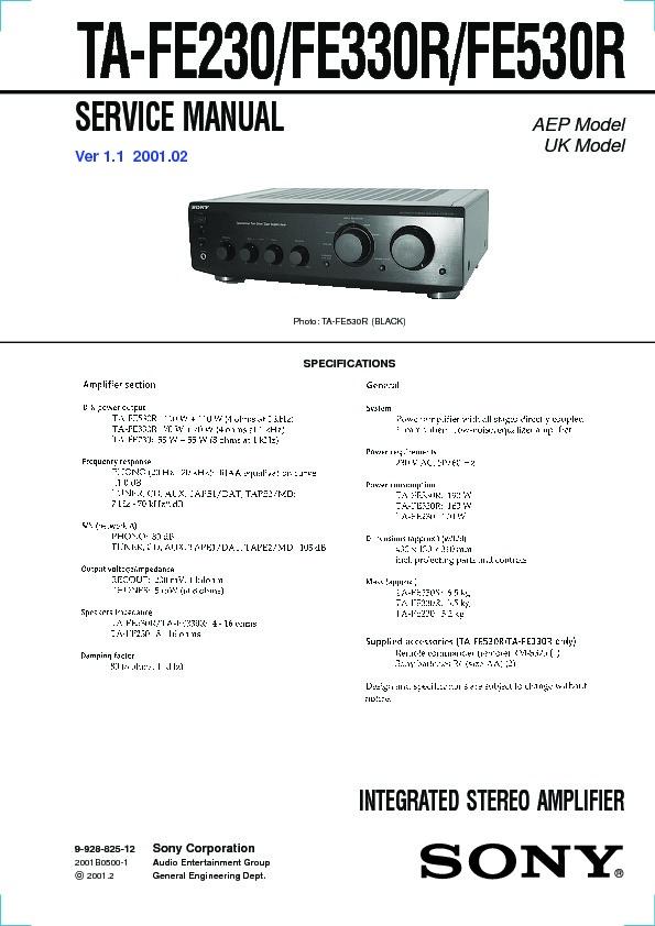 Sony Ta-fe230  Ta-fe330r  Ta-fe530r Service Manual