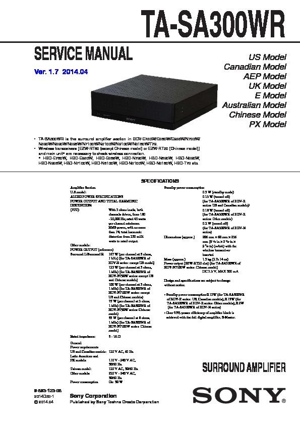 Sony Ta-sa300wr Service Manual