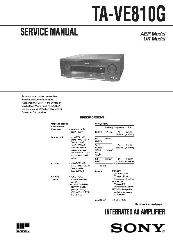 Sony Ta-ve810g Service Manual
