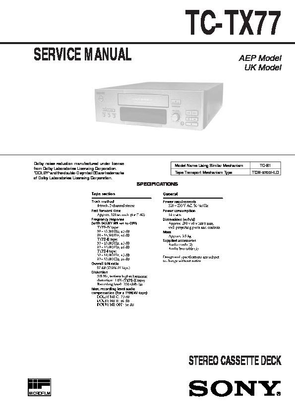 Sony Tc-tx77  Tc-tx770 Service Manual