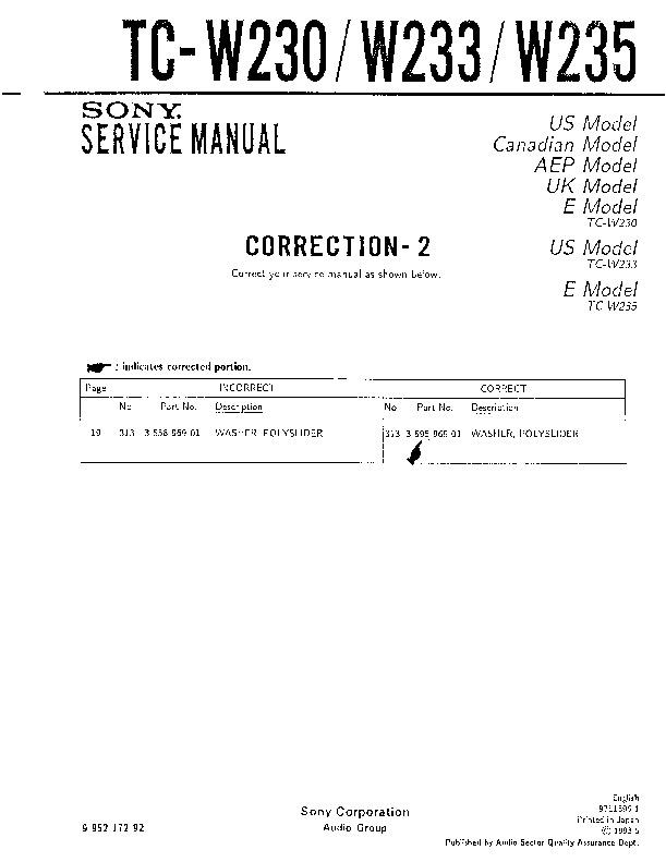 Sony Tc-w230  Tc-w233  Tc-w235 Service Manual