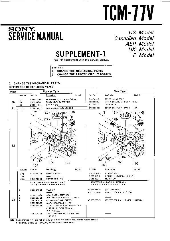 Sony Tcm-77v Service Manual
