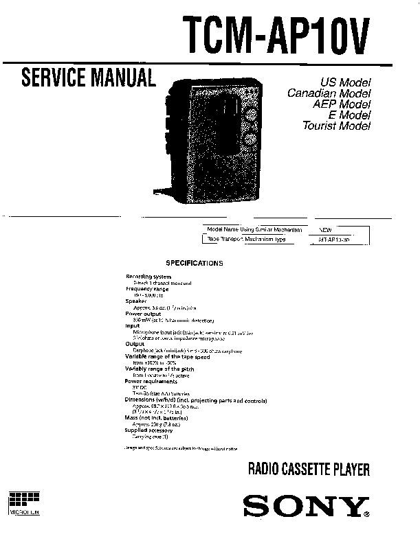 sony tcm-ap10v service manual