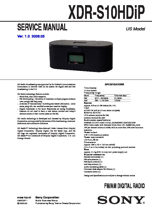 sony xdr s10hdip service manual free download rh servicemanuals us sony xdr-s10hdip service manual Sony XDR-S10HDiP HD Radio