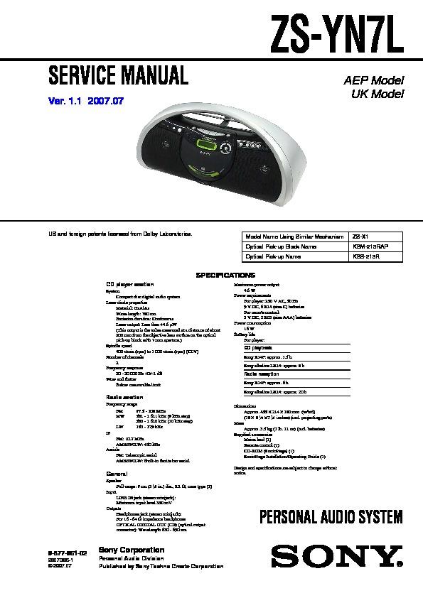 sony zs yn7l service manual free download rh servicemanuals us Atrac Type R Atrac Tape
