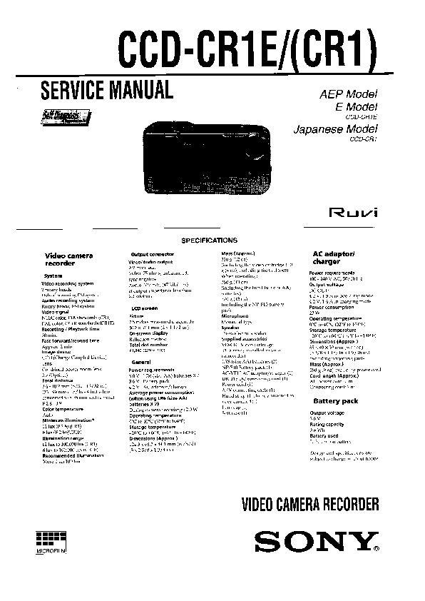 sony ccd-cr1  ccd-cr1e service manual