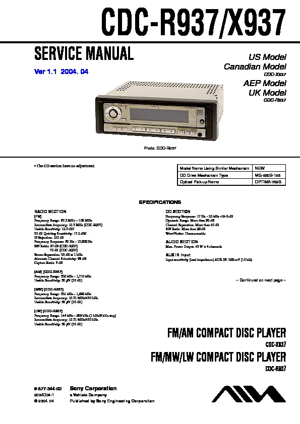 sony cdc-r937  cdc-x937 service manual