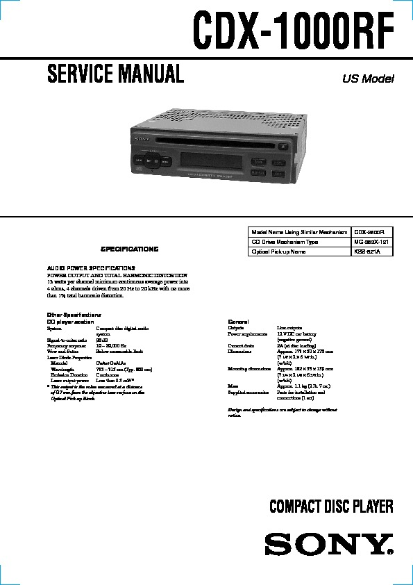 Sony Cdx 1000rf Service Manual Free Download
