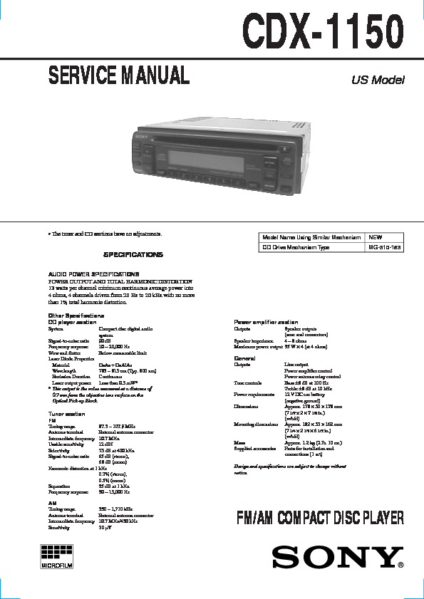 sony cdx-1150 service manual - free download  free service manuals