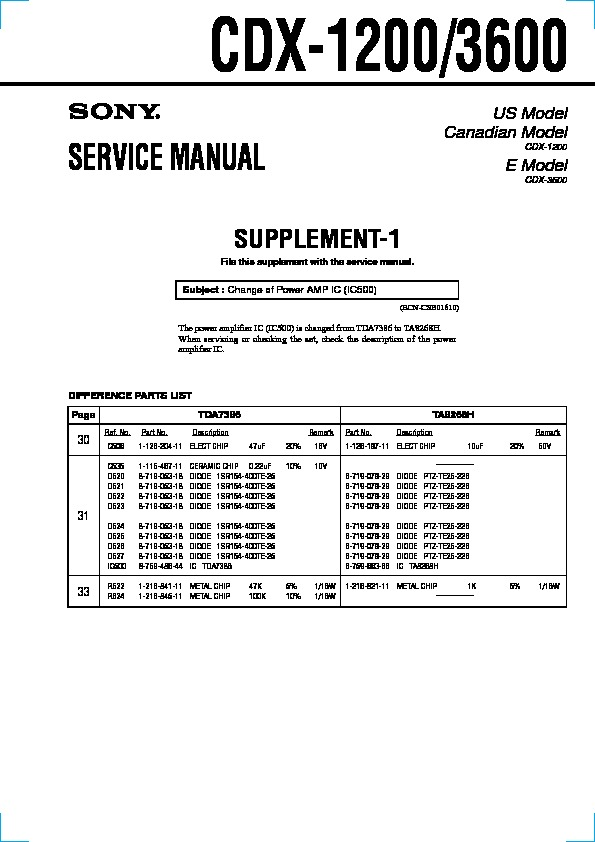 Wiring Diagram For Sony Xplod Cdx S2000 : Sony cdx service manual free download