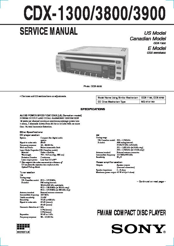Sony Cdx 1300 Cdx 3800 Cdx 3900 Service Manual Free