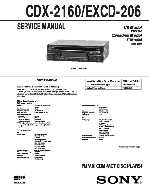 sony cdx 2160  excd 206 service manual free download Sony User Manual Guide Sony Radios Stereo