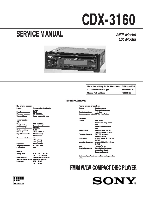 Sony CDX-3160 Service Manual - FREE DOWNLOAD on engine diagrams, troubleshooting diagrams, gmc fuse box diagrams, honda motorcycle repair diagrams, transformer diagrams, smart car diagrams, electrical diagrams, hvac diagrams, led circuit diagrams, battery diagrams, snatch block diagrams, friendship bracelet diagrams, internet of things diagrams, pinout diagrams, motor diagrams, series and parallel circuits diagrams, sincgars radio configurations diagrams, lighting diagrams, electronic circuit diagrams, switch diagrams,