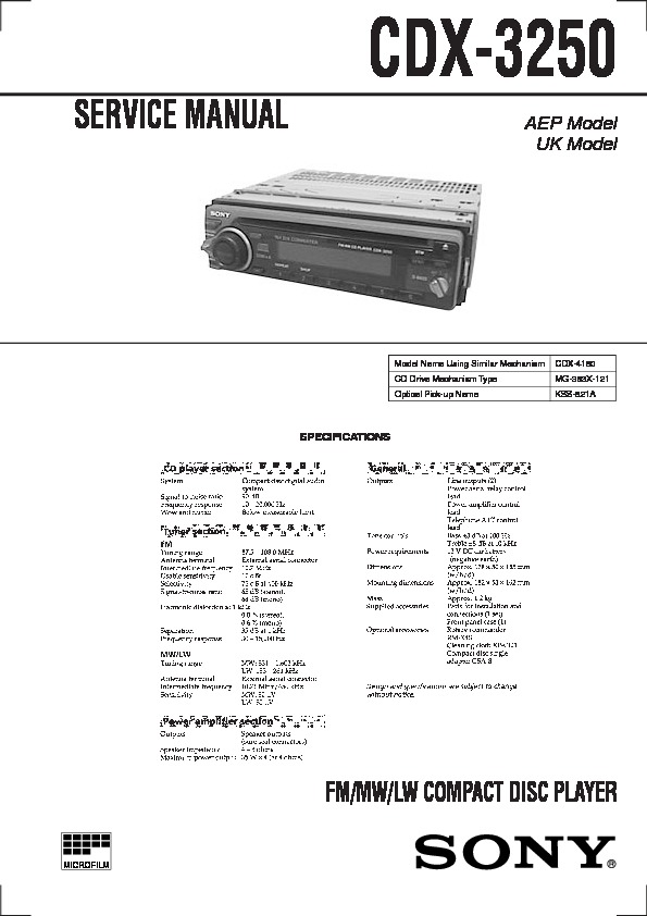 Sony CDX-3250 Service Manual - FREE DOWNLOAD on