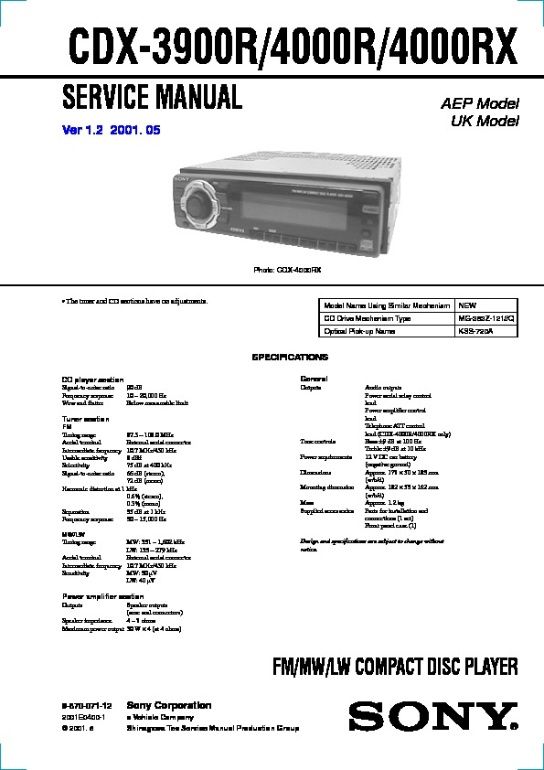 987007112 sony cdx 3900r, cdx 4000r, cdx 4000rx service manual free download sony cdx 4000x wiring diagram at crackthecode.co