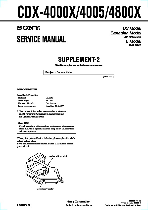 Sony CDX-4000X, CDX-4005, CDX-4800X Service Manual - FREE DOWNLOAD