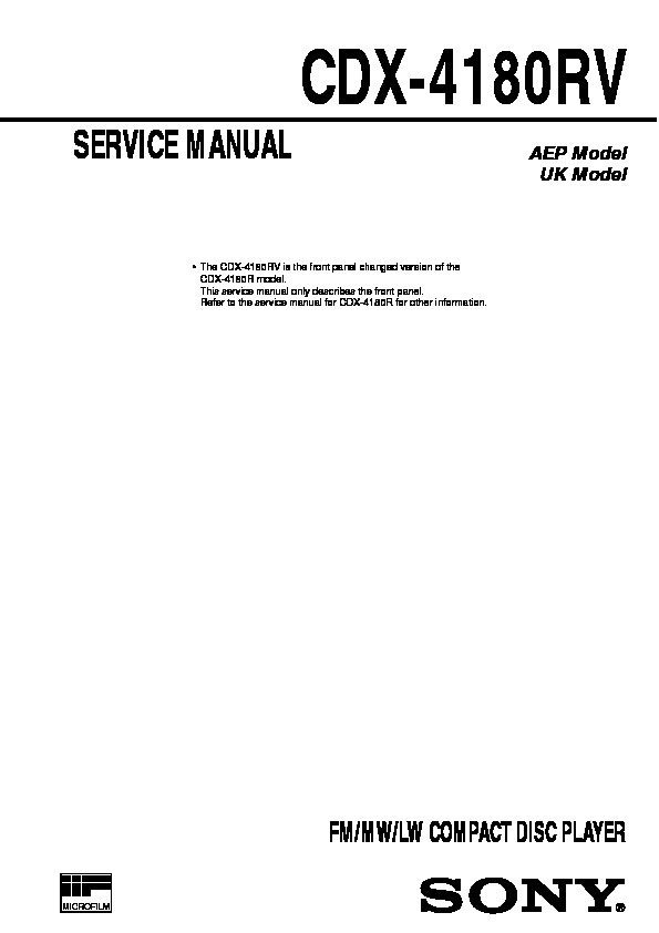 Sony CDX-4180 Service Manual - FREE DOWNLOAD on