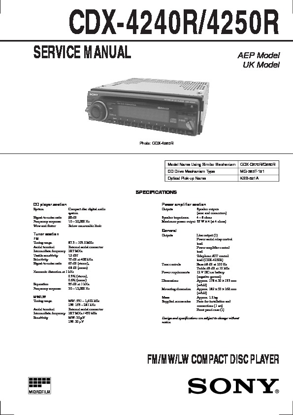 Sony CDX-4250, CDX-4500 Service Manual - FREE DOWNLOAD