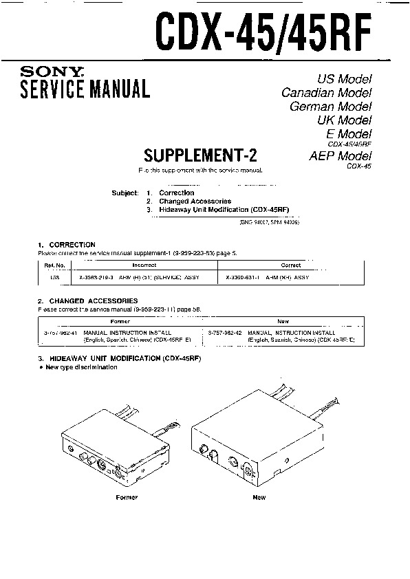 Sony Cdx-45  Cdx-45rf Service Manual