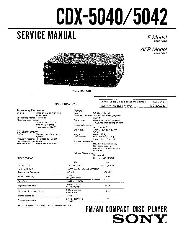 Sony Cdx-5040  Cdx-5042 Service Manual
