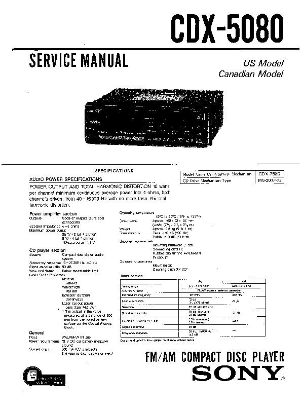 sony cdx-5080  cdx-5081  cdx-5082 service manual