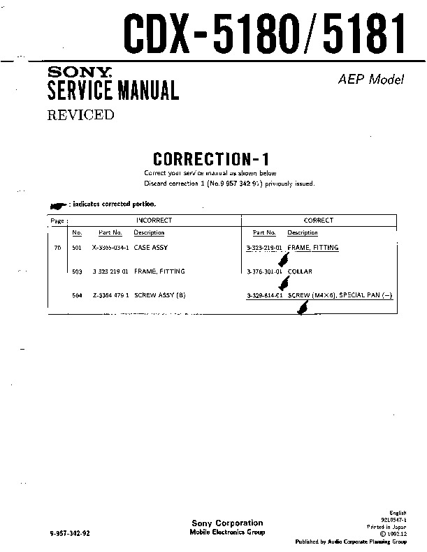 [SCHEMATICS_4PO]  Sony CDX-5180 (SERV.MAN3) Service Manual - FREE DOWNLOAD | Free Car Stereo Wiring Diagrams Sony Cdx 5180 |  | Service Manual