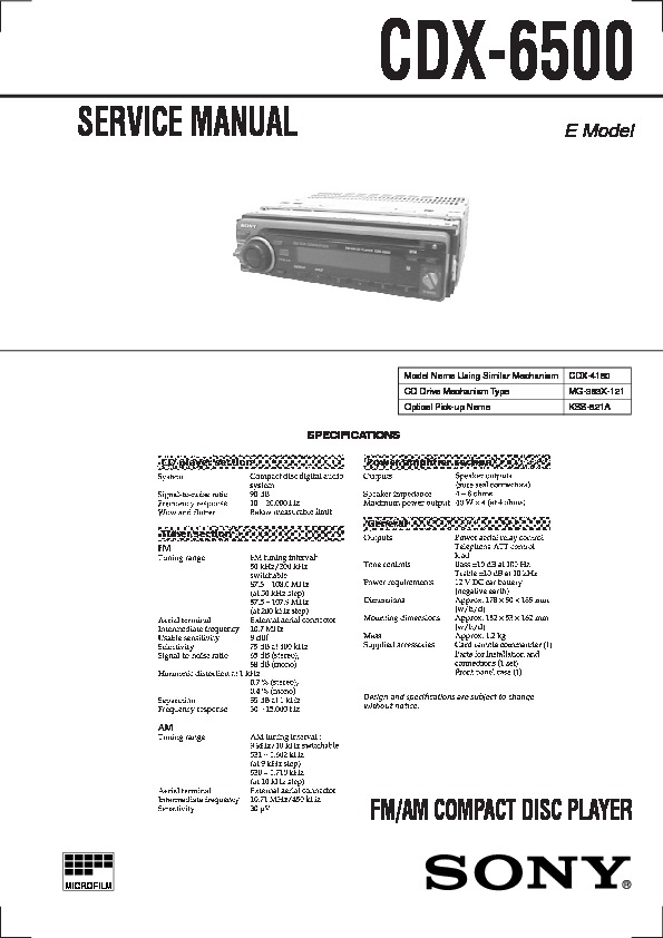 Sony CDX-6500 Service Manual - FREE DOWNLOAD on