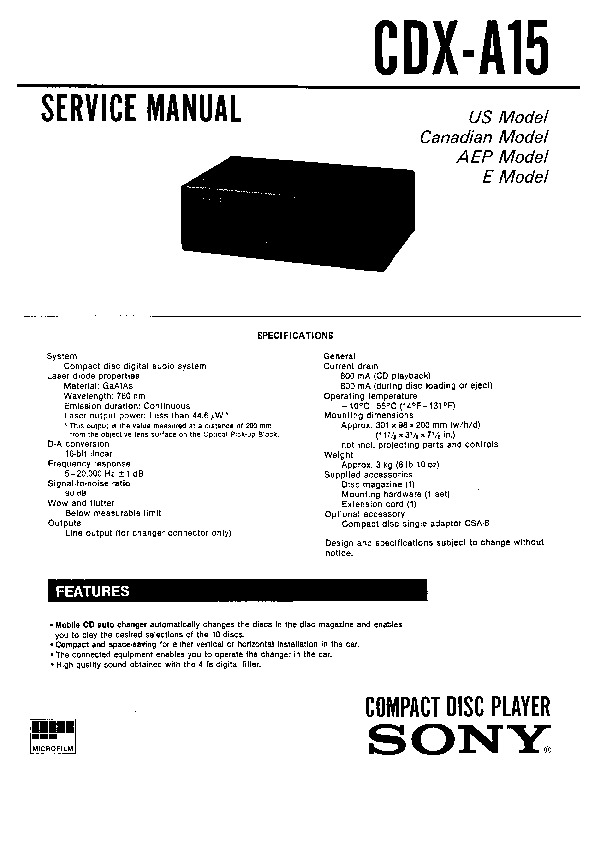 sony cdx-a15 service manual