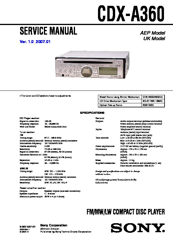 sony cdx a360 service manual free download rh servicemanuals us