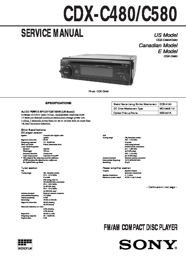 sony cdx c480 cdx c580 service manual free download rh servicemanuals us Sony Xplod CD Receiver sony cdx-c580 wiring diagram