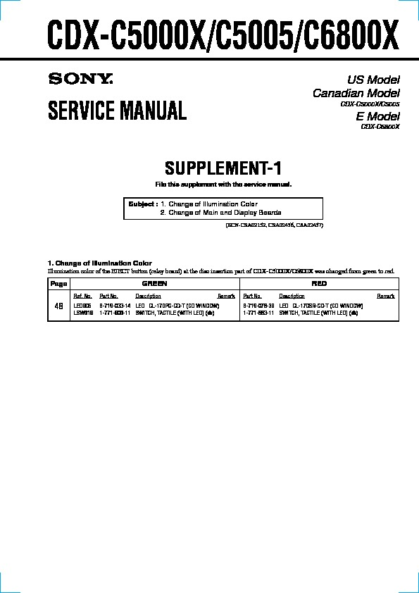 sony cdx c5000x cdx c5005 cdx c6800x serv man2 service manual rh servicemanuals us Sony R3000 CDX- GT57UP