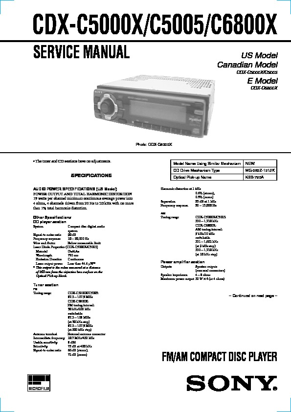 sony cdx c5000x cdx c5005 cdx c6800x service manual free download rh servicemanuals us Sony Car Audio Color Sony R3000