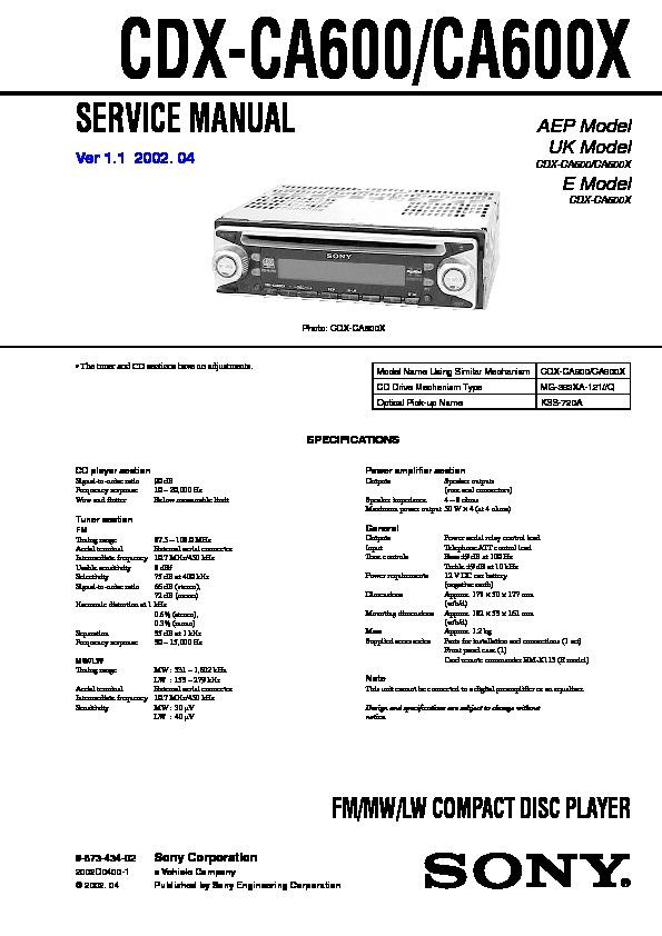 Sony Drive 5 Car Stereo Manual
