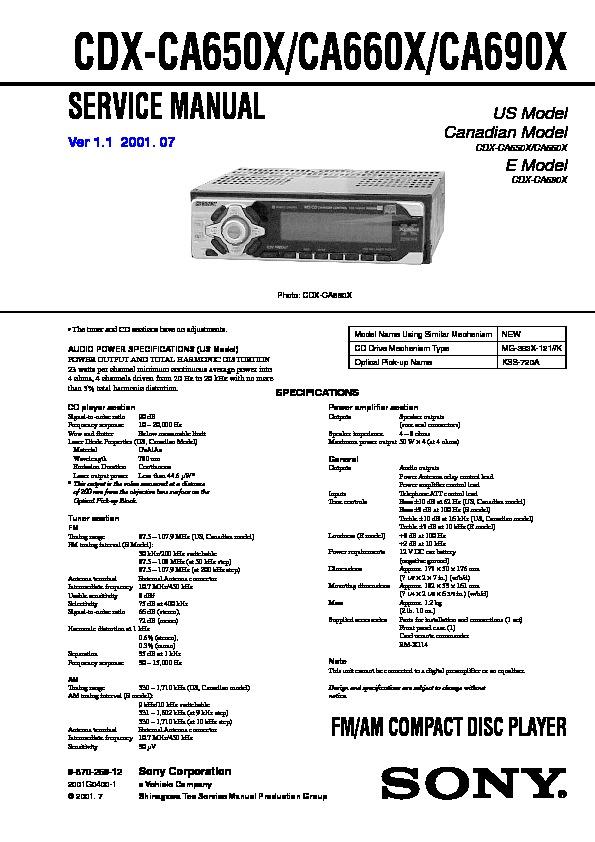 sony cdxca650x cdxca660x cdxca690x service manual