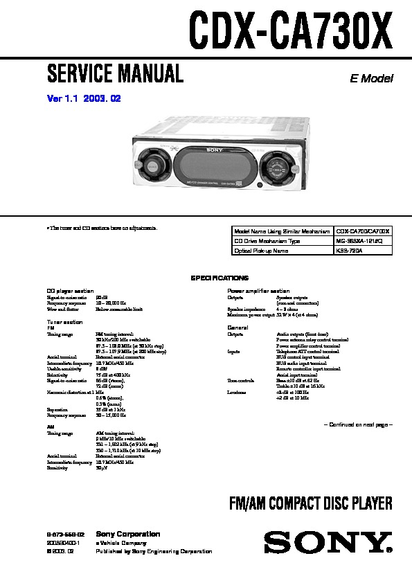 Sony car stereo manuals online 12