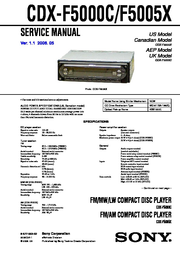Sony Car Dvd Player Wiring Diagram : Dvd player service manuals free pdf download autos post