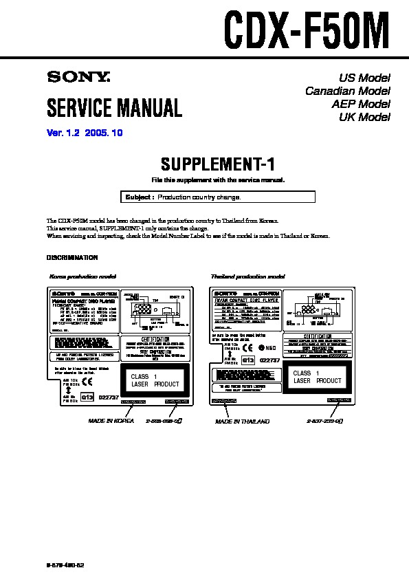 Sony Cdx-f50m Service Manual